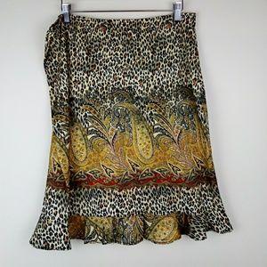 Leopard paisley animal print skirt size 15 xl